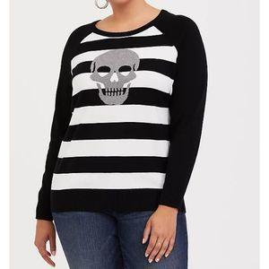 NWT Torrid Striped Skull black white knit sweater